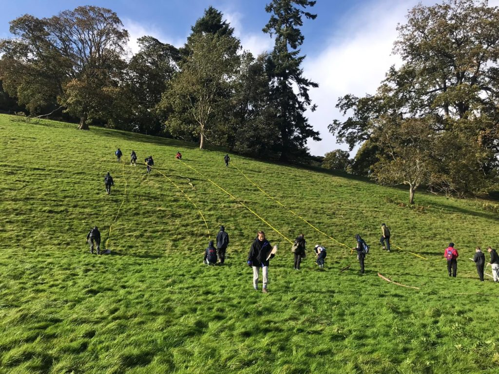 A-level biology students surveying landscape
